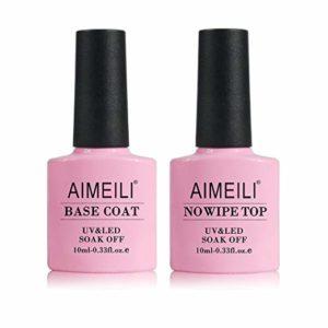 AIMEILI Gel Nail Polish No Wipe Top and Base Coat Set
