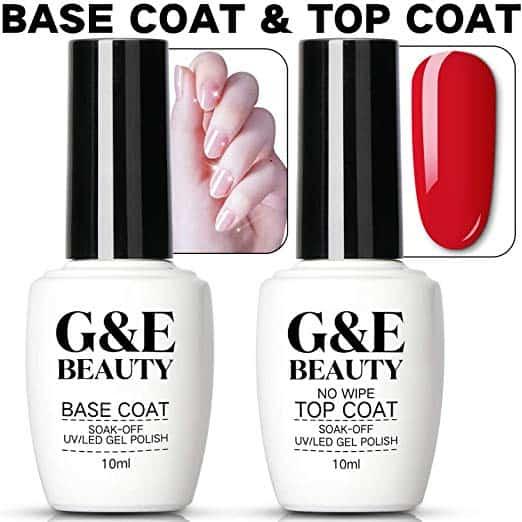 Nail Art Soak Off Base Coat + No Wipe Top Coat Set 10ml
