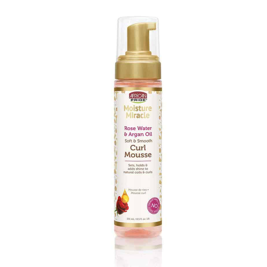 African Pride moisture miracle rose water and argon oil curl mousse