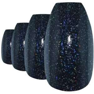 Bling Art Fake Acrylic Gel Black Coffin nails