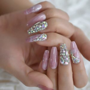 Marble Faux Pink Stones Pre-Designed Luxury Nails