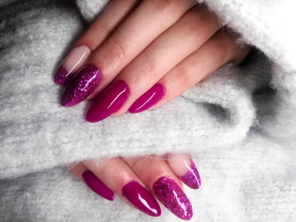 woman's pink nails